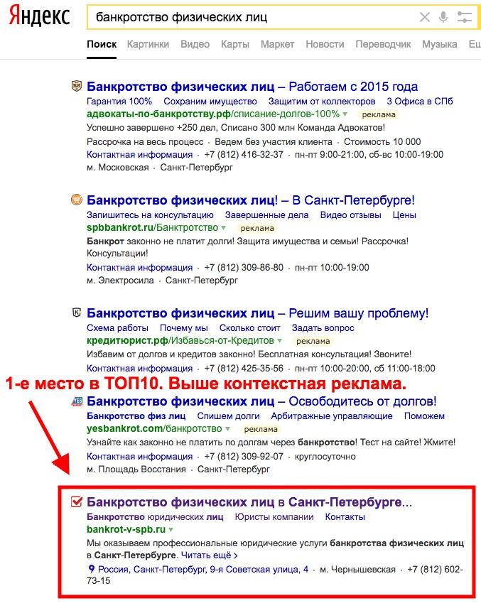ТОП-10 Яндекса. Банкроство. Сайт юридических услуг.