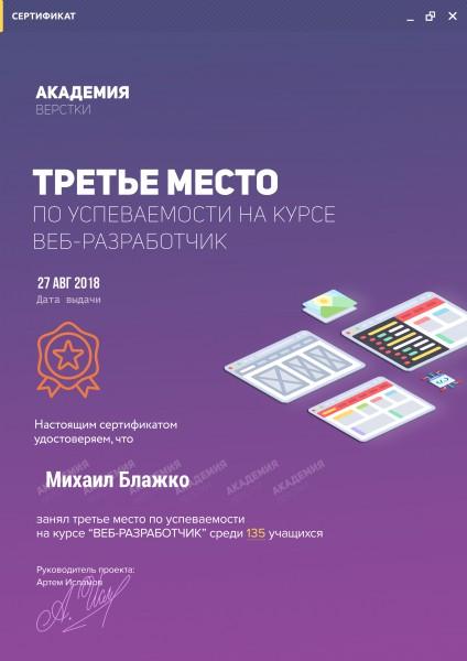 """Сертификат за 3 место на курсе """" Веб разработчик"""""""