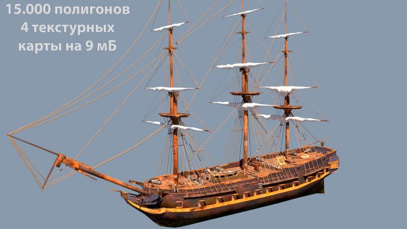 корабль 650т полигонов -> 15т полигонов
