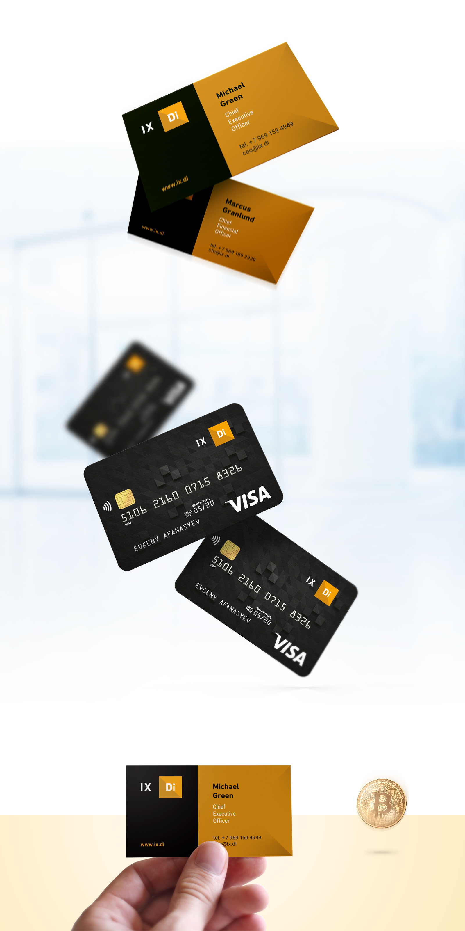 Дизайн визиток и кредиток криптовалютного фонда