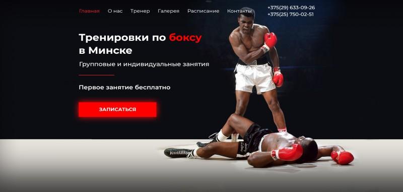 Лэндинг для клуба бокса с блогом и галереей