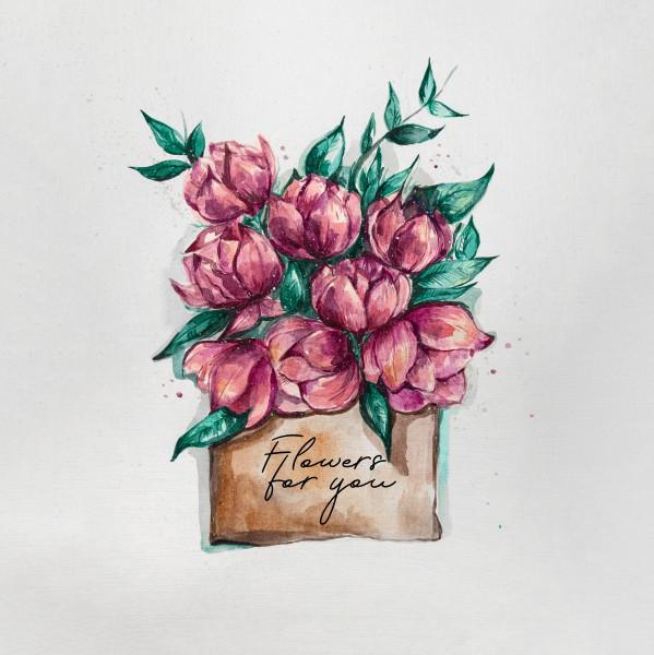 акварельная иллюстрация Flowers for you