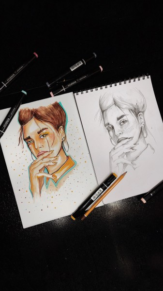 иллюстрация выполнена маркерами, справа эскиз в карандаше
