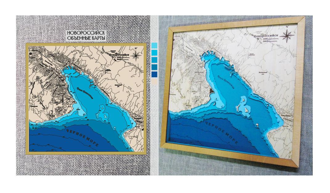 Векторная отрисовка карты Новороссийск для лазерной резки.