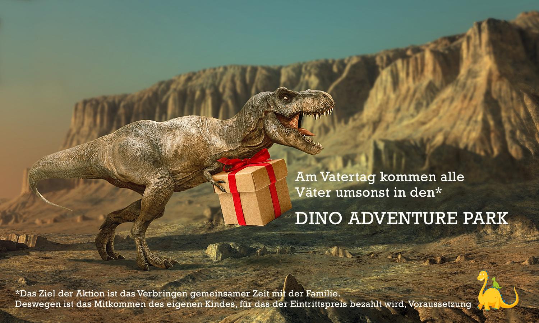 Динозавры дарят подарки. Банер для немецкого Дино-парка.