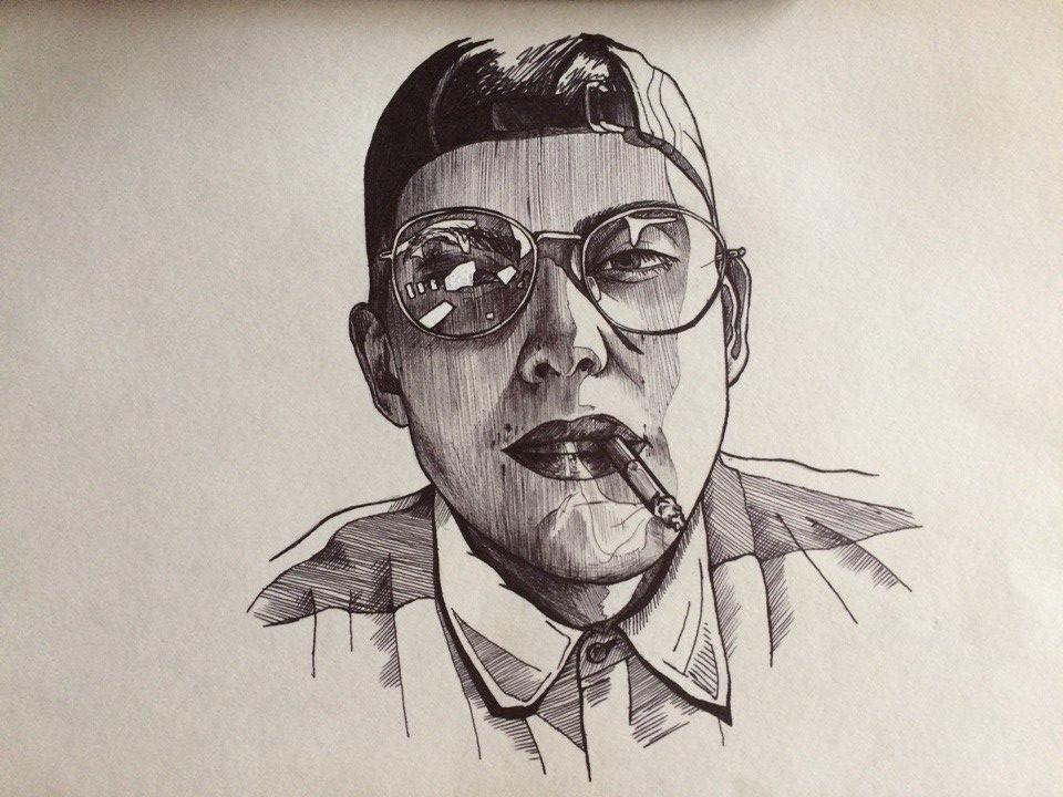 Портрет черной шариковой ручкой