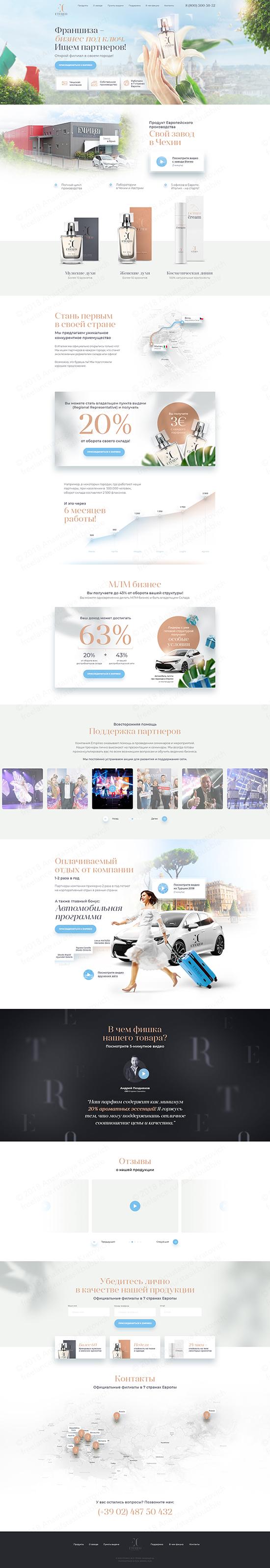 Landing Page для франшизы парфюмерной компании Etereo