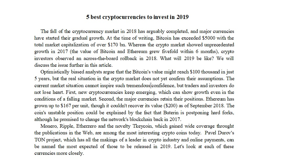5 best cryptocurrencies to invest in 2019