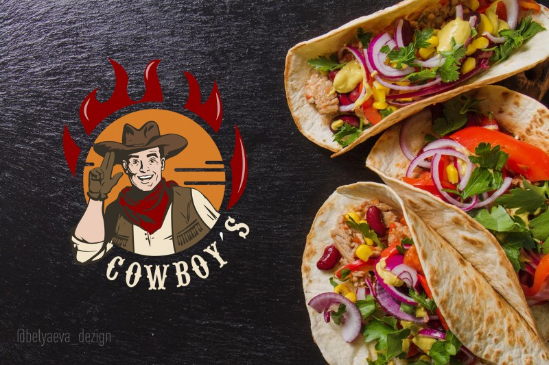 Логотип для фаст-фуда COWBOY'S
