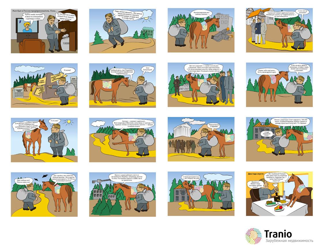комикс для агентства TRANIO, зарубежная недвижимость.