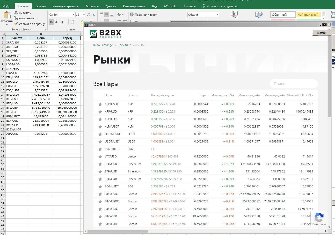 Парсинг сайта B2BX Рынки - Real Time