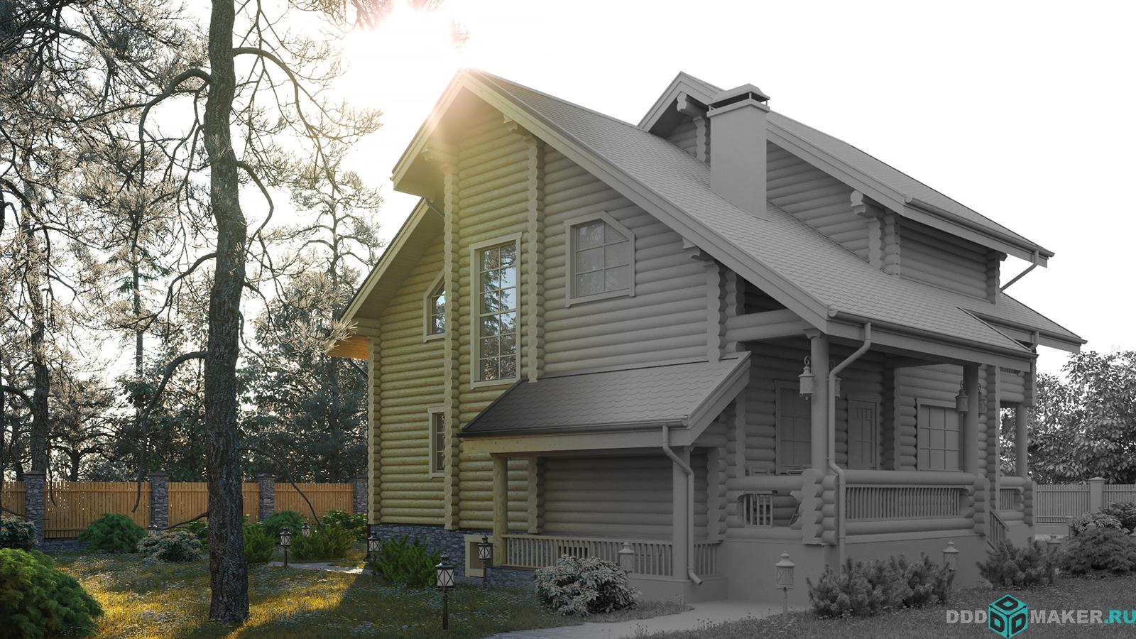 Дом из бревна моделирование и визуализация 7