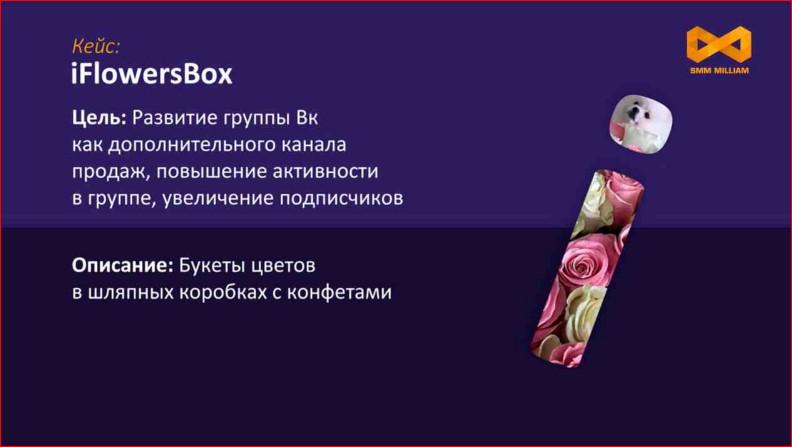 Реклама группы по продаже цветов в шляпных коробках с конфета