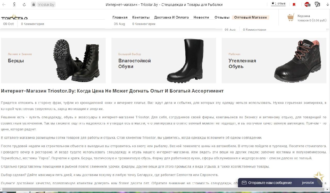21 seo-статья для интернет-магазина спецодежды Triostar