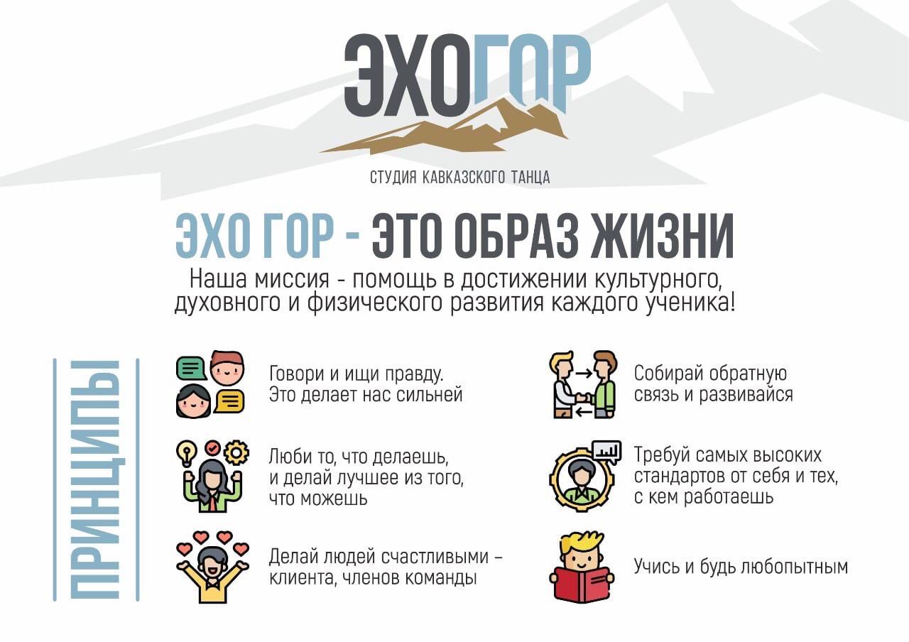 Инфографика Миссия и ценности компании