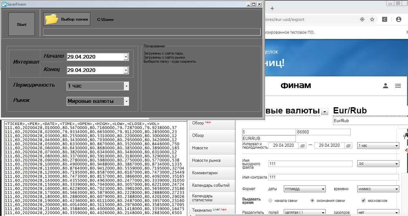 Скачивание котировок с сайта finam.ru.