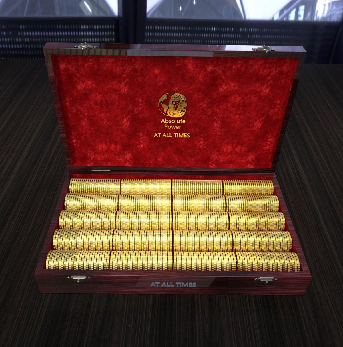 шкатулка с золотыми монетами