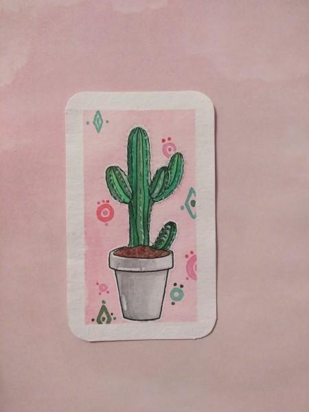 Акварельная иллюстрация кактуса