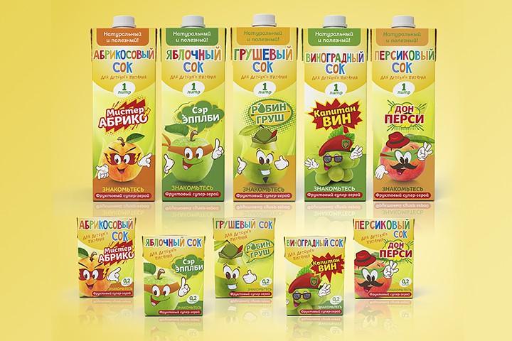 Упаковка для серии детских соков - Фруктовые супергерои