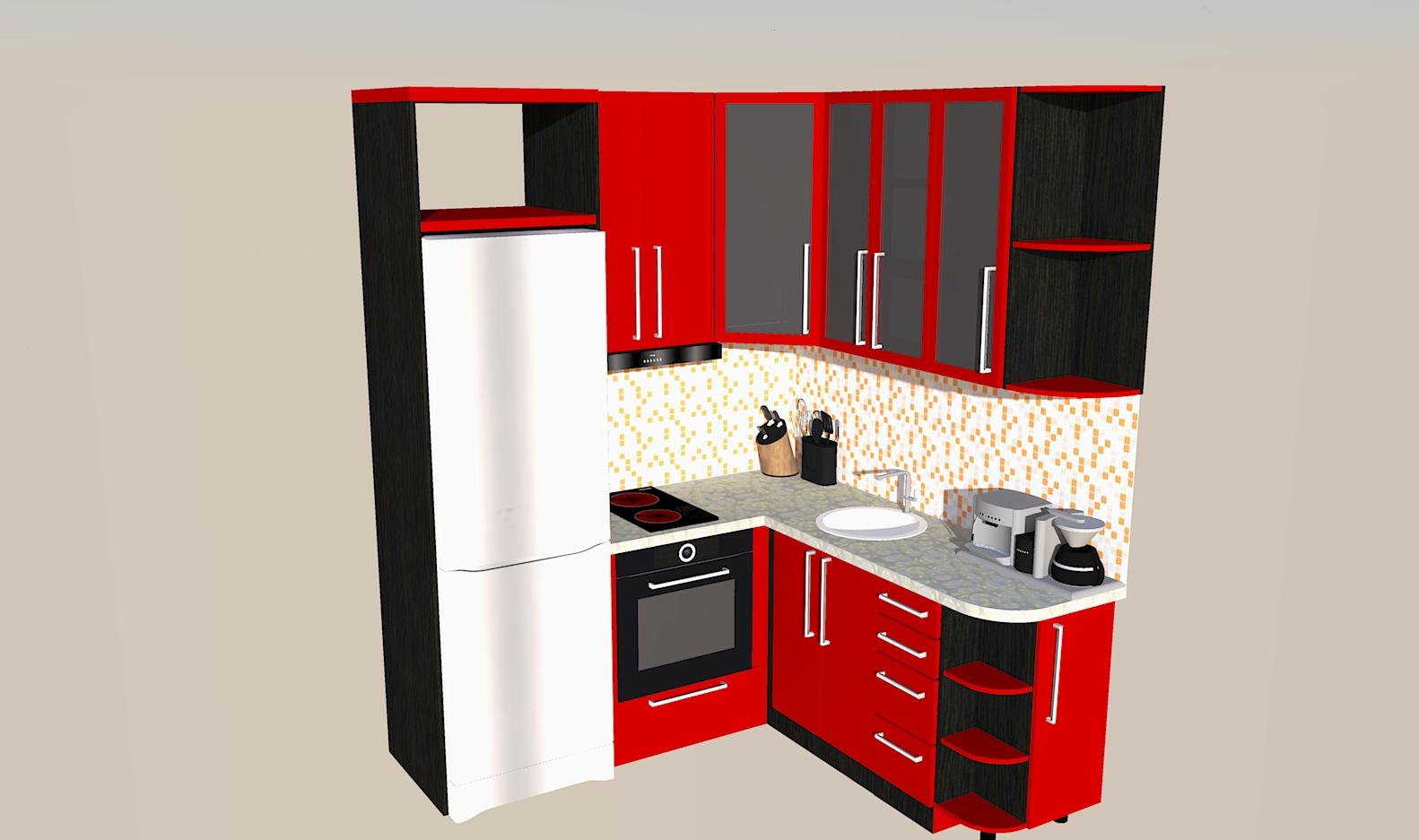 угловая кухня для для маленького кухонного помещения
