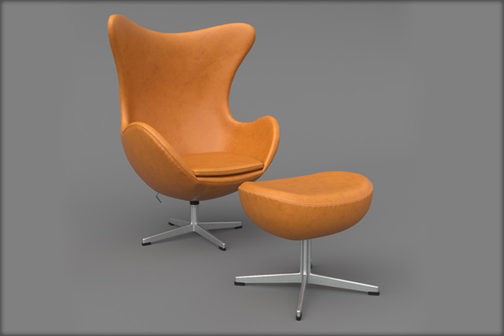 3D модель Leather Egg Chair Ottoman Arne Jacobsen