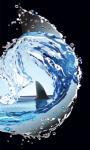 Векторная отрисовка волны с плавником акулы для упаковки