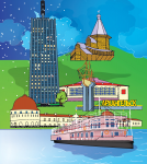 Иллюстрация достопримечательностей Архангельска