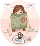 Девушка смотрит меню