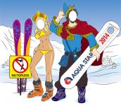 Иллюстрация лыжница и бордер-Садко