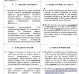 Двуязычный договор оказания услуг и приложения к нему