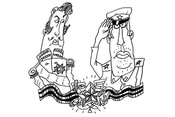 офицеры (рисунок для газеты) к 23 февраля