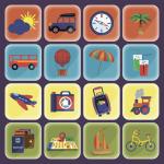 Набор туристических и транспортных иконок