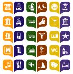 Набор навигационных, транспортных и туристических иконок
