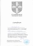 Сертификат участника семинара CUP