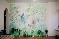 Роспись стены (аэрограф, кистевая) в гостиной. Акриловые краски.
