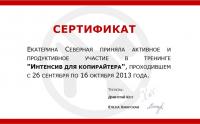 """Диплом """"Интенсив для копирайтеров"""" Дмитрия Кота 2013"""