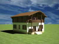 Деревянный коттедж 3д изображение