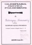 Диплом Олимпиады Польского языка за 2-е место