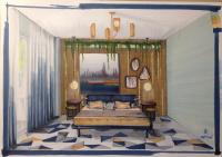 скетч дизайна интерьера спальни