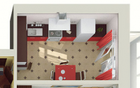 3D визуализация квартиры, вид сверху (1 ракурс)