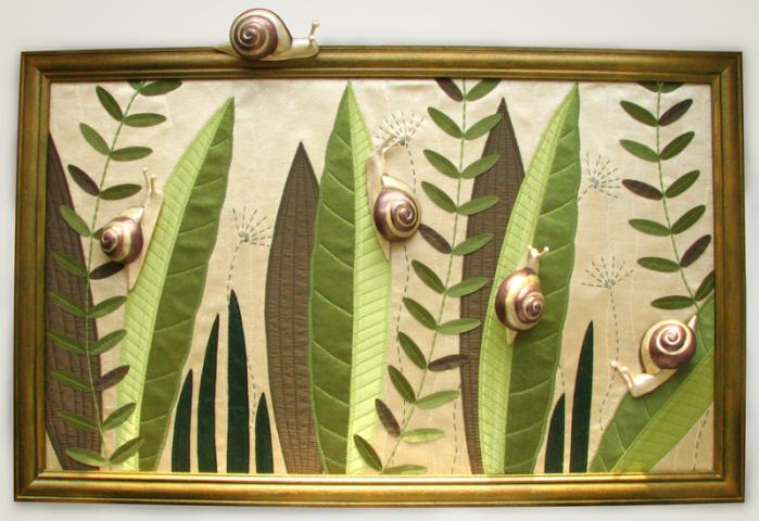 Картина из ткани и полимерной глины