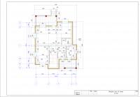 Коттедж. Обмерный план 1го этажа