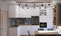"""Modern kitchen design """"White&Wood"""""""