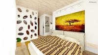 Спальня с африканскими мотивами в таунхаусе