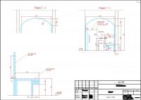 план и разрез хаммама со схемой обогрева поверхностей