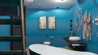 Ванная комната в сочном синем минимализме!