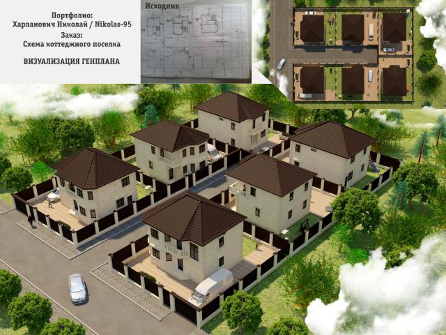 Визуализация коттеджного поселка