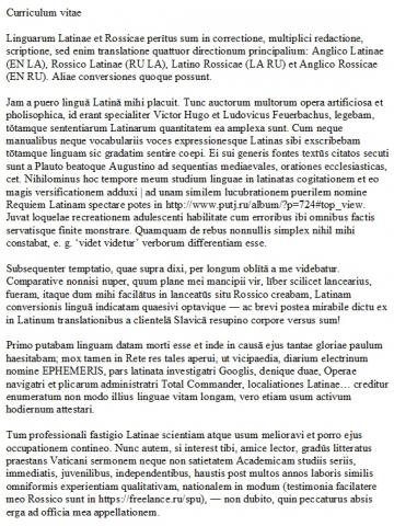 Mei curriculum vitae (CV) | Мое латинское резюме (с рус. пер.)