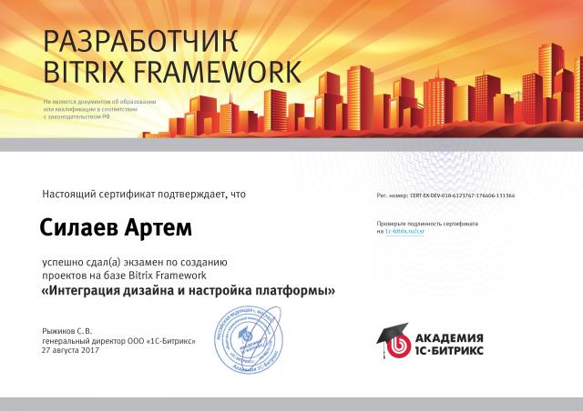 """Сертификат """"Интеграция дизайна и настройка платформы"""""""