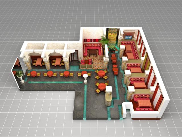 Отрисовка зала ресторана Арияф для системы бронирования столиков